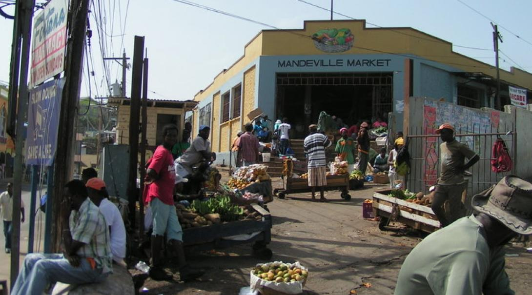 Volunteers visit local markets during their English language course in Jamaica.